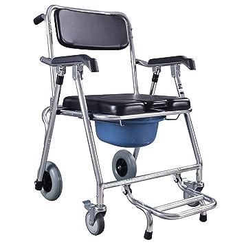 Silla baño silla de ducha silla plegable con inodoro silla de baño baño en silla de ruedas portátil altura fija funda para silla con ruedas y frenos: ...