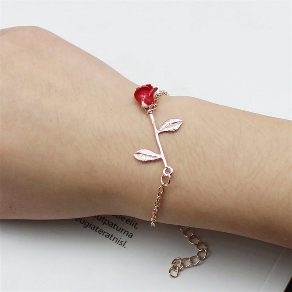 Bismarckbeer Fleur Rose femmes filles Bracelet réglable Bracelet chaîne Mode Bijoux Cadeau Red + Rose Golden