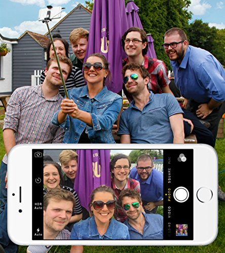 DURAGADGET Mini Pocket Wired Selfie Stick - Compatible with HTC Droid, DNA, Incredible, Incredible 2 | HTC EVO HD, Facebook, Gratia, HD7, Incredible S, Inspire 4G, J Butterfly & Rezound