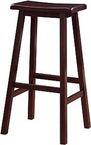Benjara 29 Inch Wooden Saddle Stool with Slanted Legs, Brown