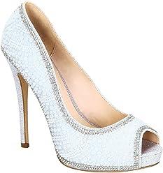 de858ad592 De Blossom Collection Women's Eternity-106 Open Peep Toe Dressy High Heel  Pump Silver 8.5