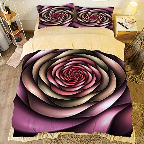 Comfortable Bed Sheet Set with Bedding Pillow Case Cover for bed width 6ft Pattern Customized bedding for boys and young children,Spires Decor,Rose Petals Curved Winds around Fixed Center Point at Inc