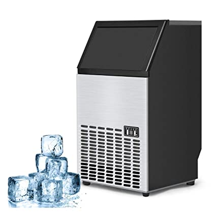 costzon built in stainless steel commercial ice maker portable ice machine restaurant silver - Commercial Ice Machine