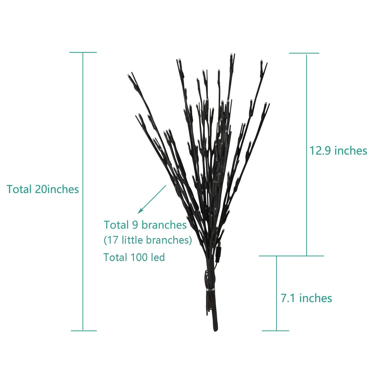 Babali Lighted Twig Branches 20 Inches 100 Led Battery Tree Wiring Diagram And Electric Corded Dual Power Decorative Artificial Willow Warm White Lighting