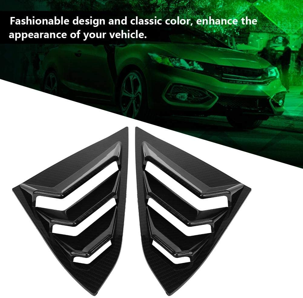 Acouto Scoop Left /& Right Side Window Louver Frame Cover Vent For Honda Civic 2016-2018 Glossy Black