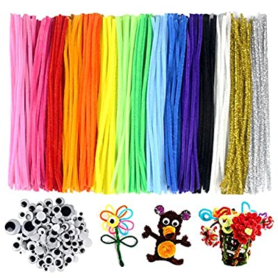 LoveS Pipe Cleaners 300 PCS DIY Pipe Cleaners Set, 15 Colors, with 100 Wiggle Googly Eyes as Gift