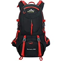 Hiking Backpack Nylon Waterproof Large Capacity Daypack for Outdoor Sports Travel Fishing Cycling Skiing Climbing Camping Mountaineering (Black-50L)