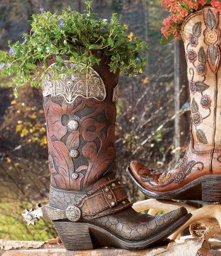BLACK FOREST DECOR Tooled Cowboy Boot Vase - Southwestern Decor ()