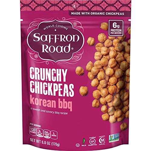 World Peas - Saffron Road Organic Crunchy Chickpeas, Non-GMO, Gluten-Free, Halal, Korean BBQ, 6 Ounce
