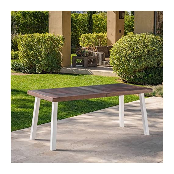 Olivia Outdoor Dark Brown Finished Acacia Wood Dining Table with White Finished Rustic Metal Legs -  - patio-tables, patio-furniture, patio - 61VqbD9q4hL. SS570  -
