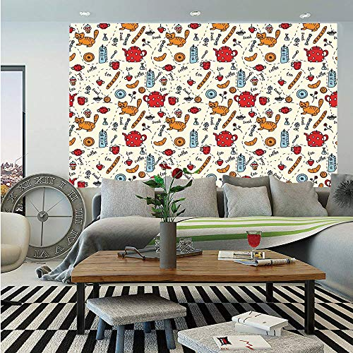 Kitchen Decor Wall Mural,Cats Tea and Sweets Coffee Morning Muffins Milk Bread Home Cafe Cartoon Doodle Art,Self-Adhesive Large Wallpaper for Home Decor 55x78 inches,Red Cream Orange