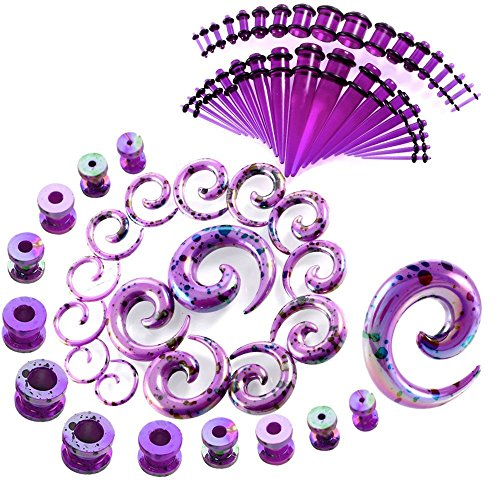JDXN 64 Pieces Acrylic Spot Gauge Kit Spiral Tapers Tunnels and Plugs 14G-00G Ear Stretching Starter Set Body Piercing Jewelry (Purple / 64Pcs / Set) (Body Piercing Stretcher)