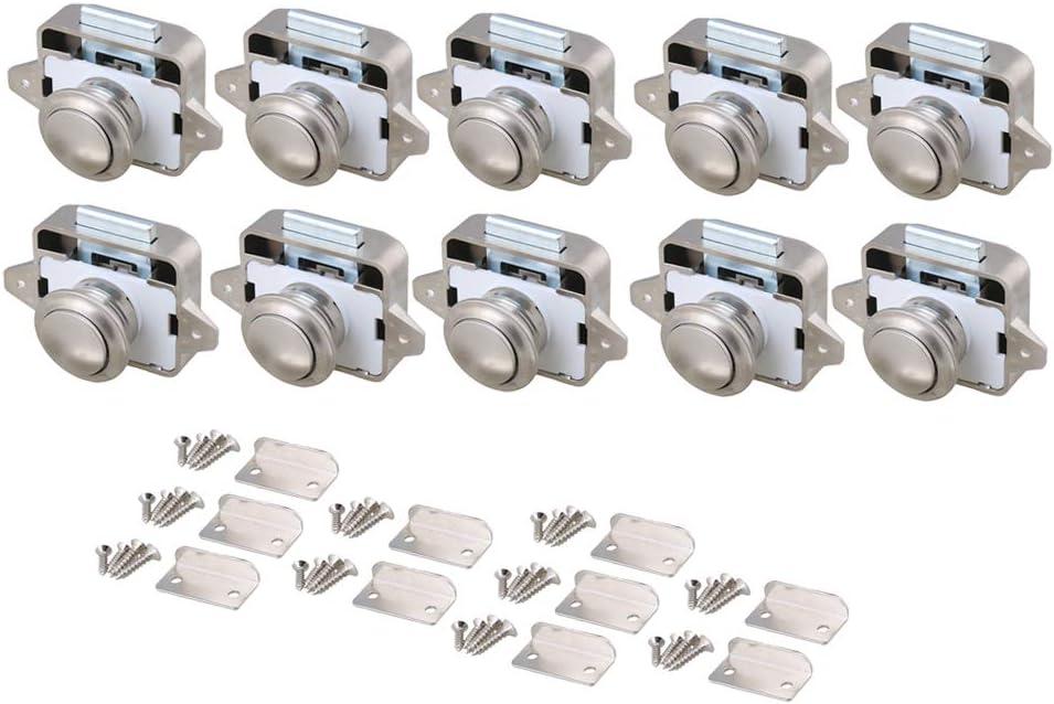 BQLZR 26mm Opening Hole Pearl Nickel Keyless Push Button Cabinet Latch Knob for Motorhome Caravan Cupboard Cabinet Door Pack of 5