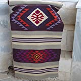 Handwoven kilim rug, made of natural pure wool with boho pattern
