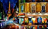 PARIS (24 x 40) is an Original Oil Painting on Canvas by Leonid Afremov. This magnificent original oil painting features an evening cityscape Paris with the Eiffel Tower in the background. Your artwork comes Gallery Wrapped and is ready to be hung. T...