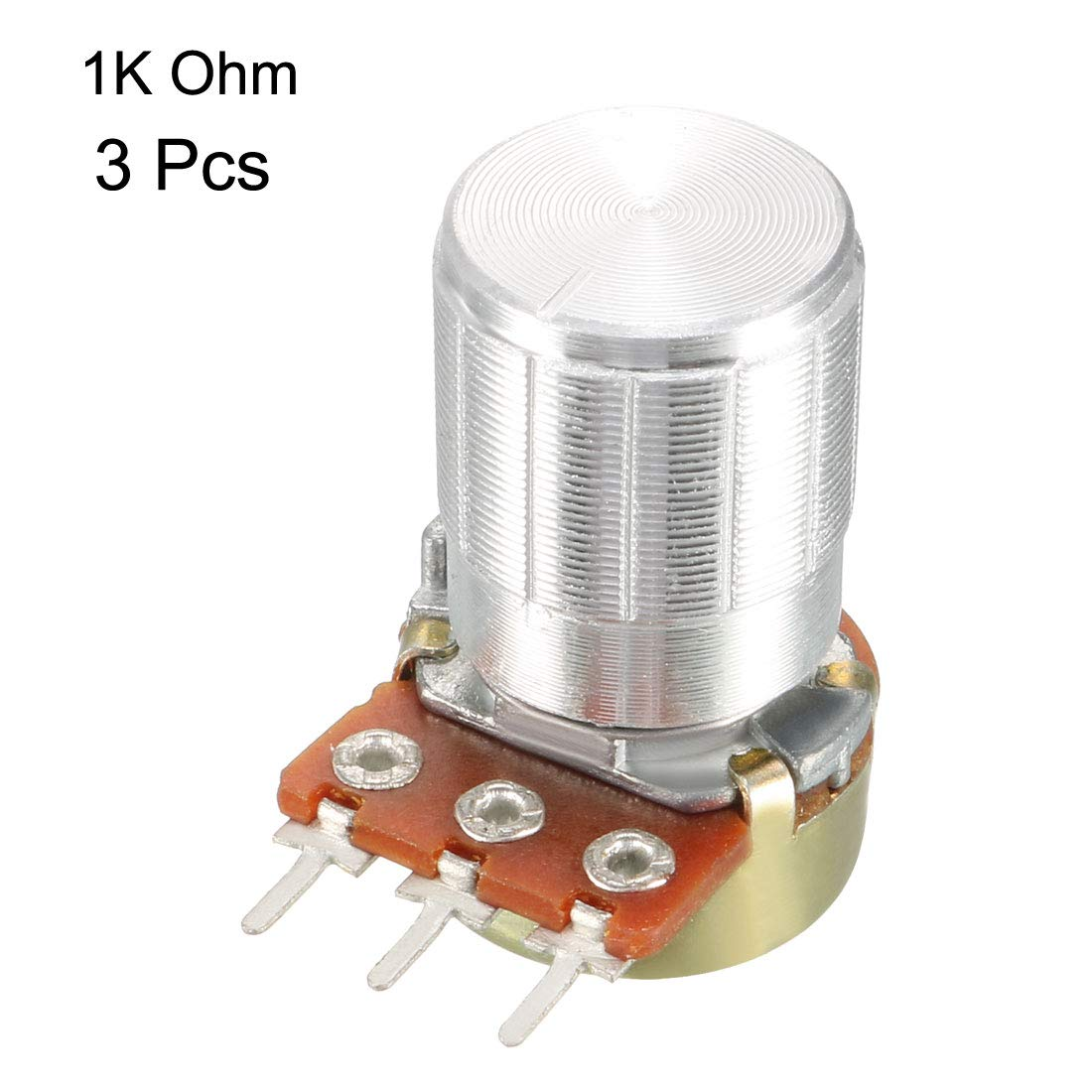 sourcing map WH148 2Pcs 1K Ohm Variable Resistors Single Turn Rotary Carbon Film Taper Potentiometer with Knobs