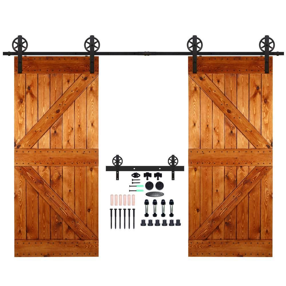 CCJH 10FT-305cm Rueda Grande Herraje para Puertas Kit de Accesorios para Puerta Correderas Juego de Armarios de Acero Corredizos para Puertas Corredera Riel Rueda para Puertas de Madera Dobles XHKJ