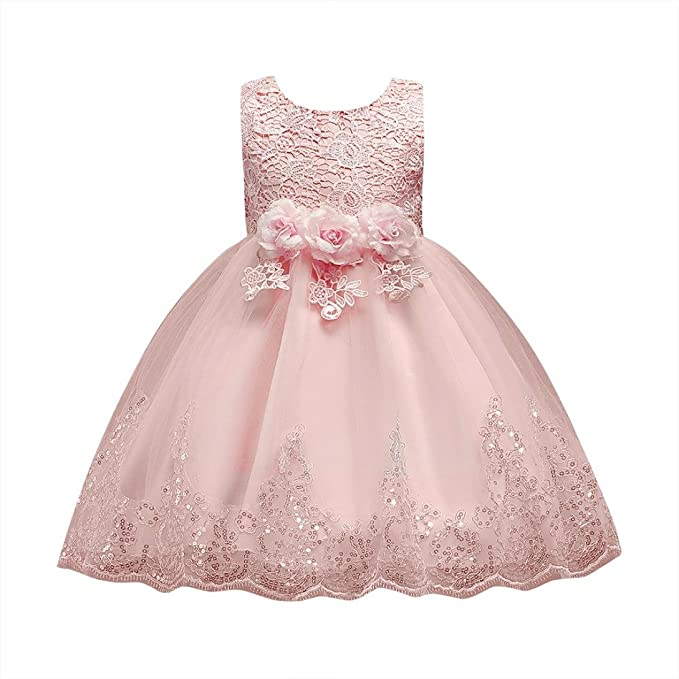 Honhui Clearance Sale Toddler Baby Girl Floral Princess Bridesmaid Pageant Gown Birthday Party Wedding Dress Skirt For 2 8 Years Old
