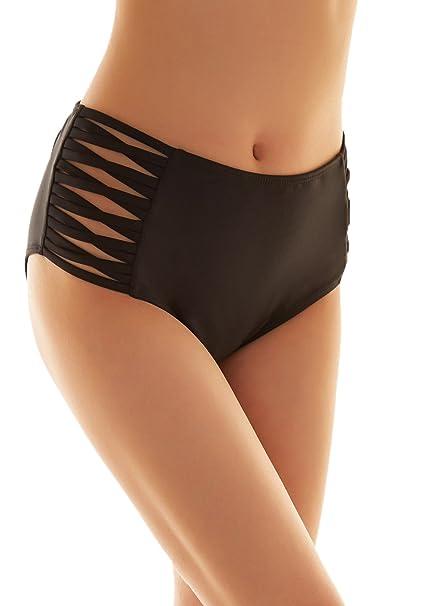 SHEKINI Mujer Negro Braguita Pantalones de Cintura Alta Bikini Braga Ropa Interior Natación Talla Grande S