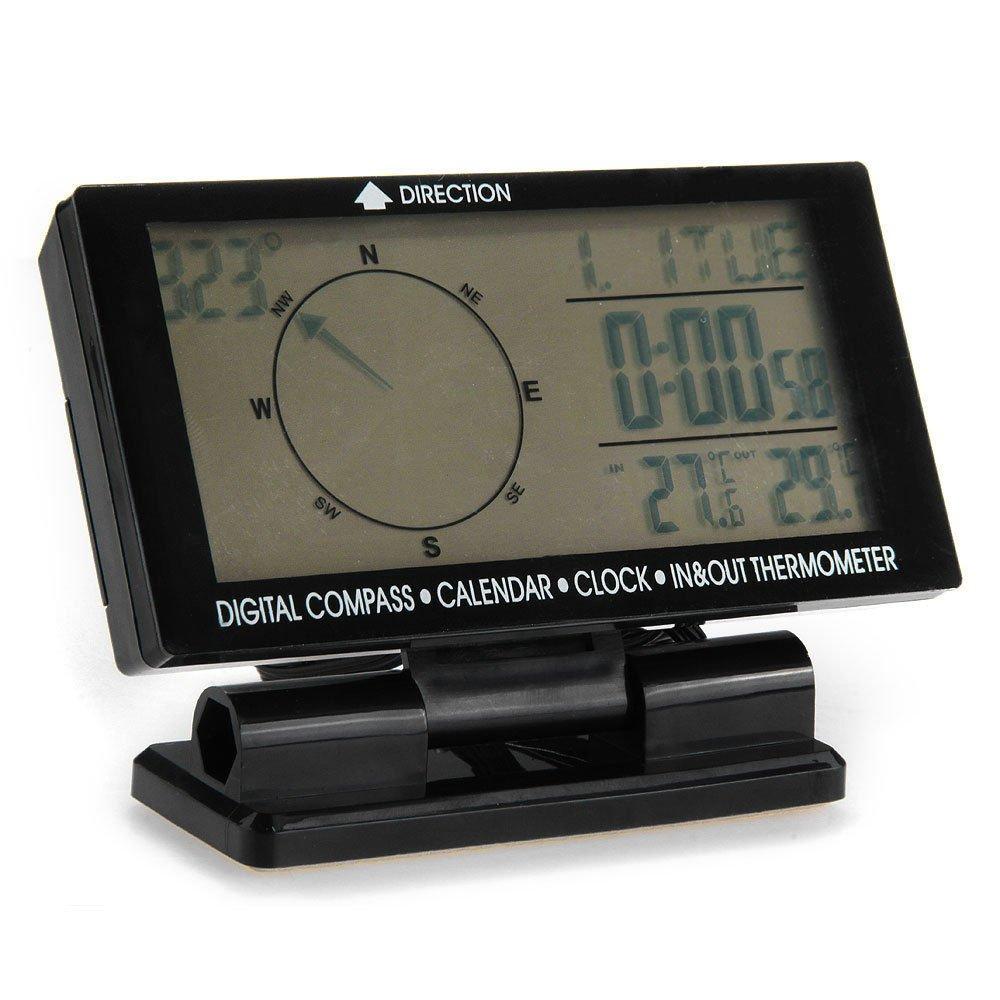 Shsyue® Car Digital Compass with Clock Calendar Indoor/Outdoor Temperature Display
