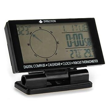 Shsyue® Compás Digital del Coche con el Calendario del Reloj Pantalla de temperatura interior /