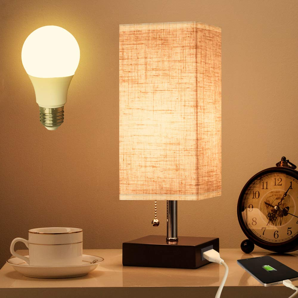 Lifeholder Table Lamp, Nightstand Lamp with USB Charging Port and Warm White Led Bulb, Wooden Claret Base Beside lamp, Modern USB Lamp Perfect for Bedroom, Living Room, or Office by lifeholder