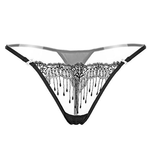 bc180b8b1 Defline Women s Black Charming Thong Lingerie Lace G-String T-Back Panties