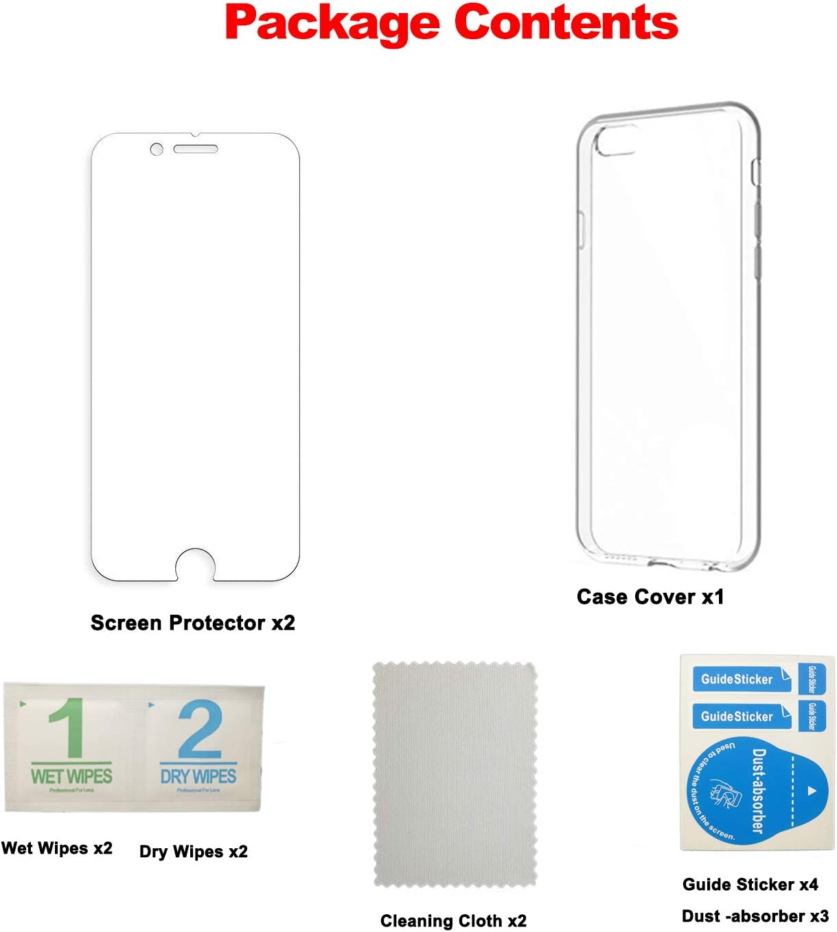 2020 Shock-Absorption Protective Cover,2.5D Edge Tempered Glass for iPhone 6//6S//7//8//SE 2020 MEEFIX Slim TPU Bumper for iPhone 6S Case Screen Protector Set
