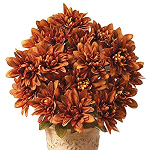 Collections Etc. Artificial Chrysanthemums, Low-Maintenance Colorful Artificial Flower Bouquets, Set of 3, Rust 102