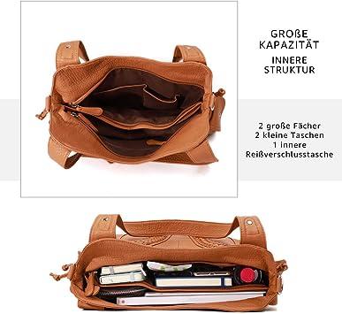 1555-brown KL928 Damen Handtasche Leder Taschen Umh/ängetaschen Schultertaschen Henkeltaschen Hobo Tasche Weiches Damentasche f/ür Frauen