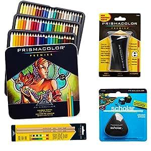 Prismacolor 72-Count Colored Pencils, Triangular Scholar Pencil Eraser, Premier Pencil Sharpener, and Colorless Blender Pencils