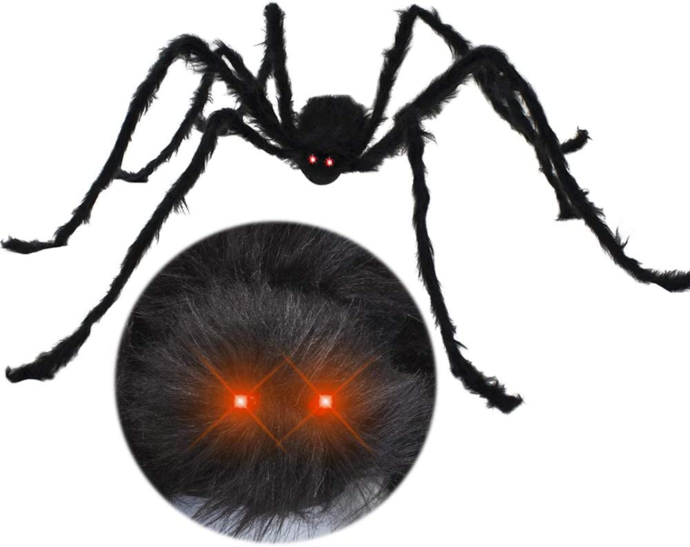 JOYIN 6.5ft LED Eyes Hairy Black Giant Spider for Halloween Indoor Outdoor Decorations