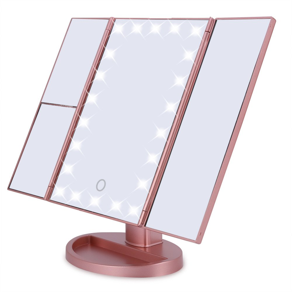 Fleuri Beauty Makeup Vanity Mirror with Lights - Tri Fold 3x Magnification LED Lighted Mirrors for women - 270 Degree Rotating Modern and Professional - Small and Compact for Travel with Storage