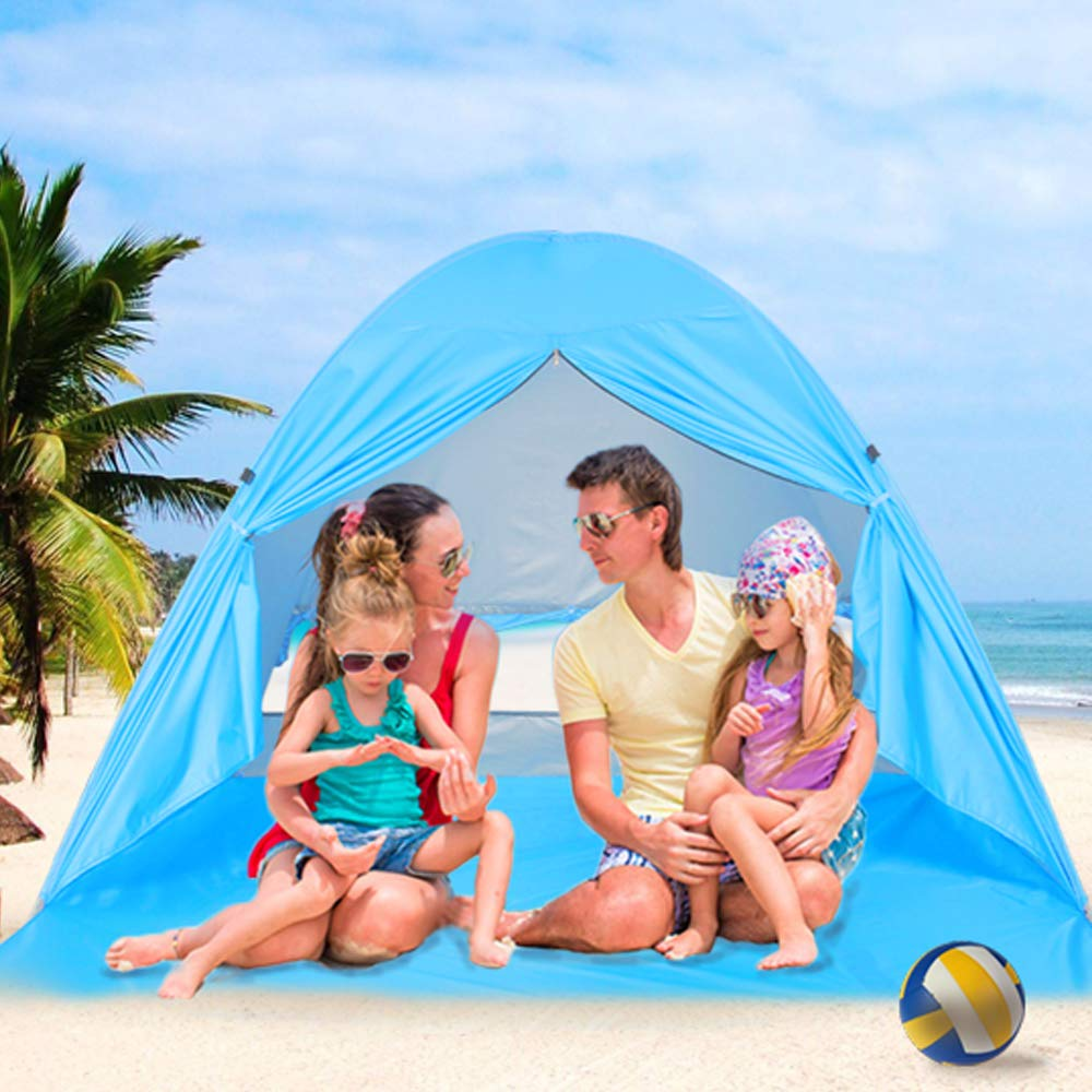 wilwolfer Beach Tent Pop Up Sun Shelter Plus Cabana Automatic Canopy Shade Portable UV Protection Easy Setup Windproof Stable with Carry Bag for Outdoor 3 or 4 Person (Blue) (Blue (Curtain)) by wilwolfer