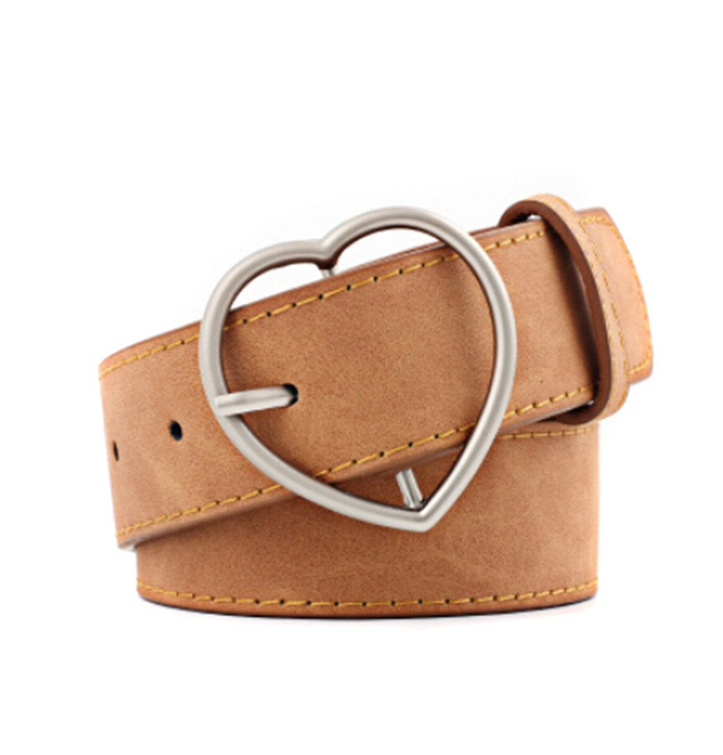 KISSFRIDAY Women's Light Brown Waist Belt Casual Wide Waistband with Heart Pin Buckle