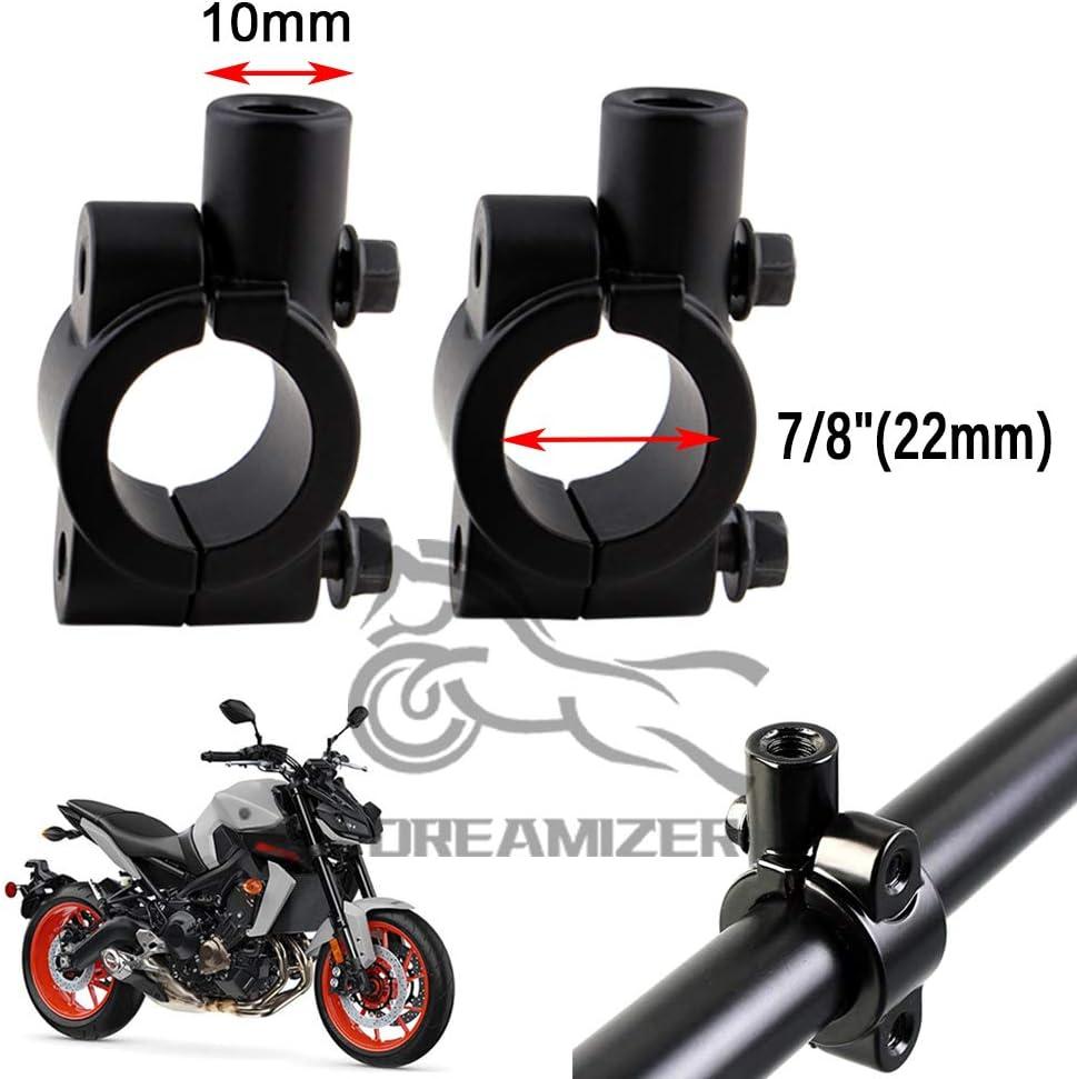 Dreamizer 8mm 10mm Espejos Retrovisores de Motocicleta Moto Retrovisores Laterales con 22mm Abrazadera del Manillar para Street Bike ATV Quad Cruiser Bike