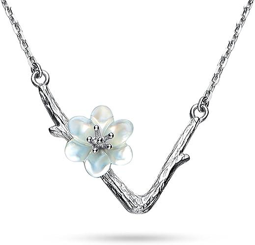 925 Sterling Silver Bird Sakura Cherry Blossom Necklace Pendant Bird On Branch
