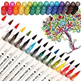 Best Markers For Adult Coloring Books - Premium Dual Tip Brush Marker Pens, Non-Toxic Water Review