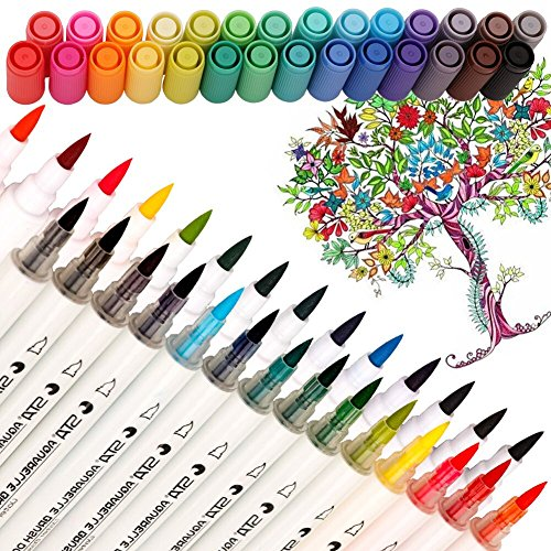 Dual Tip Watercolor Brush Markers - Pandafly Non-Toxic Water Based Lettering Marker Calligraphy Pens For Adults&Kids Coloring Book, Sketching, Drawing, Bullet Journal, 28 Assorted (Dual Tip Markers)