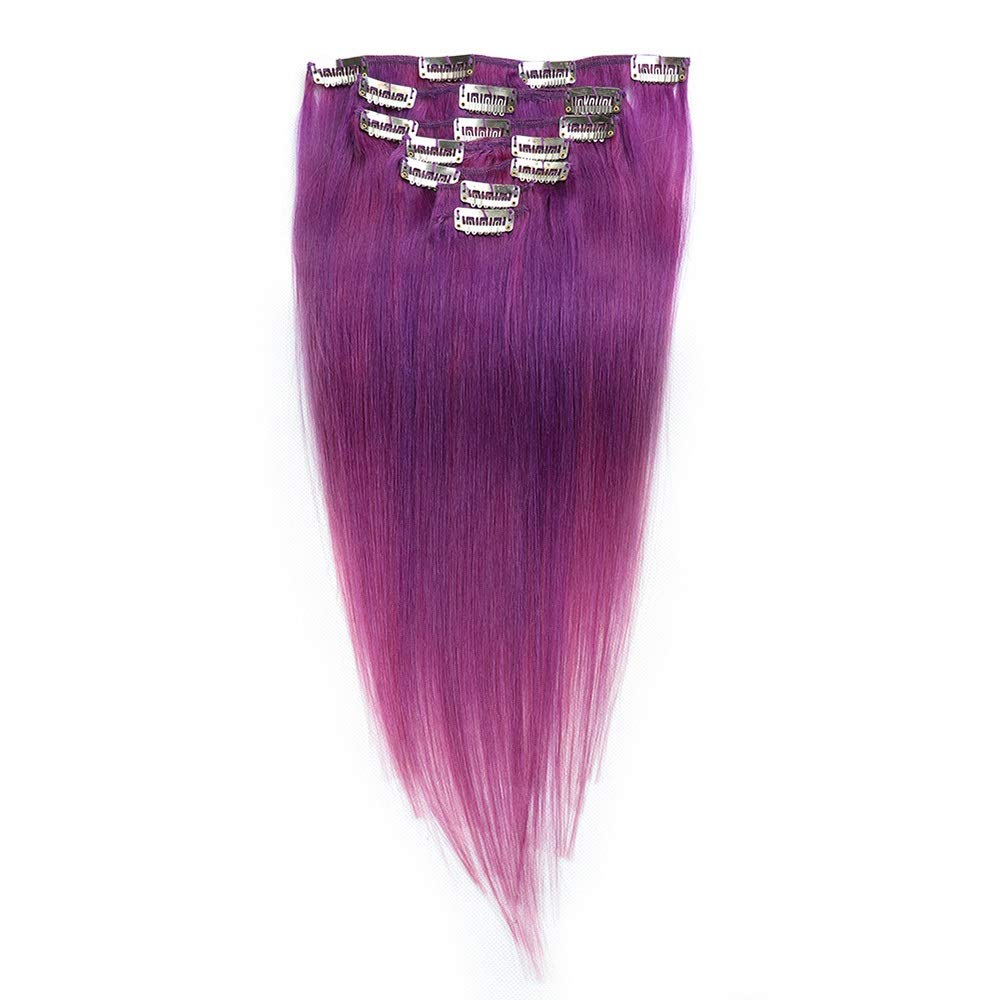 Kathleen Chance 7pcs 24 Inch Human Hair Clip In - #lila Bright Purple Color Hair Extensions (Color : #lila)