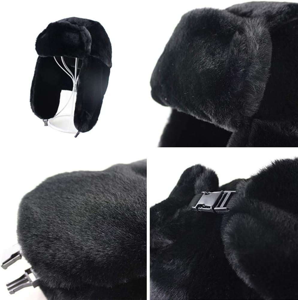 Ti-Fa Unisexe Hiver Chapka Ear Flap Trappeur Bomber Casquettes Bonnets Chapeaux Russe Ushanka Garder Chaud Patinage Ski Autres Activit/és en Plein Air,A
