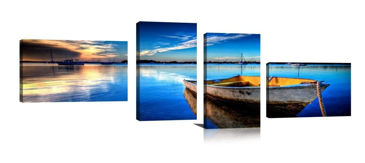 YPY Paintings Scene of Sea Boat Nature Beauty Wall Art Canvas Material Framed Paintings for Living Room Bedroom Office Decoration (B, 25x40cmx4panel) by YPY