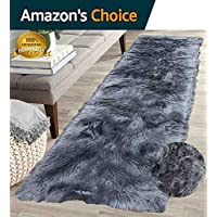 Furry Fluffy Fuzzy Soft Solid Faux Fur Sheepskin Lambskin Sheep Hide Animal Skin Floor Hallway Long Runner Rug Long Runner Carpet Area Rug Indoor Gray Grey 2x7 ( Fur Shaggy Gray Grey )