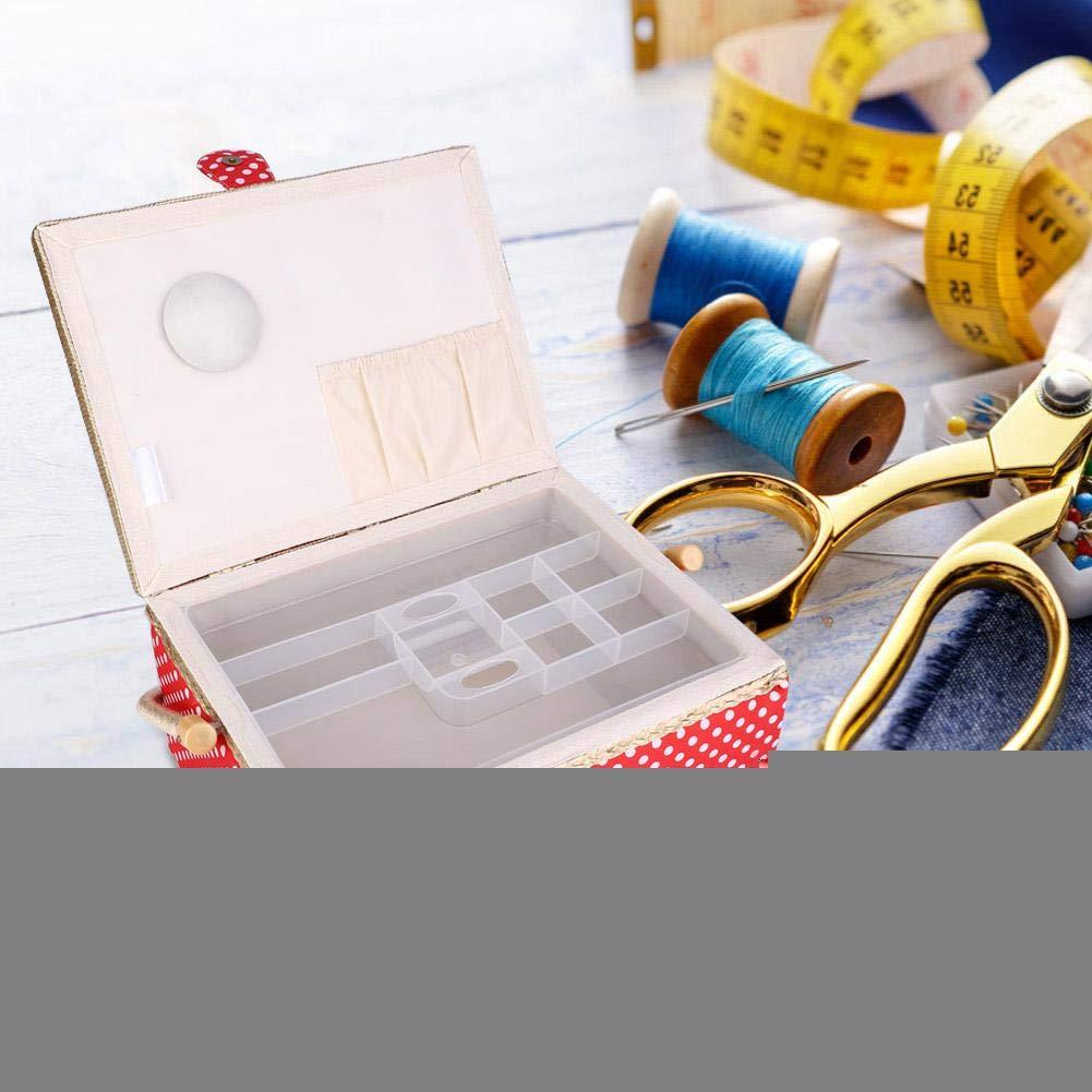 Blue KEYREN Large Sewing Basket Household Fabric Craft Thread Needle Storage Box Organizer with Comfortable Handle Storage Box