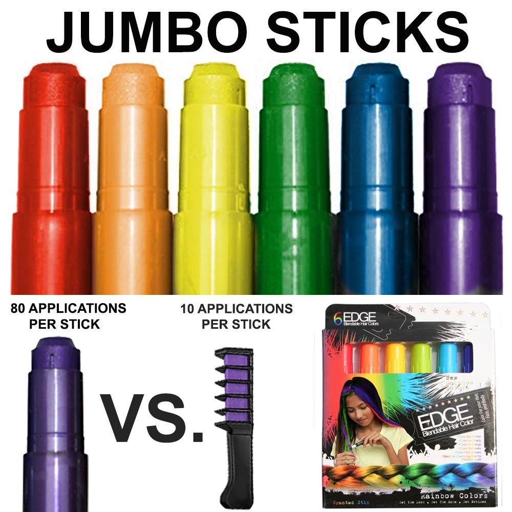 Kids Hair Chalk - JUMBO HAIR CHALK PENS - RAINBOW - Washable Hair Color Safe For Kids And Teen - 200% MORE COLOR PER PEN - SCENTED - For Party, Girls Gift, Kids Toy, Birthday Gift For Girls, 6 Colors