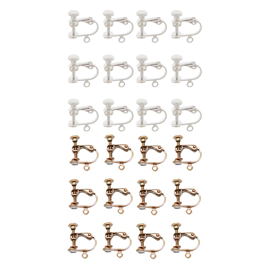 Baoblaze 24 Piece Adjustable Ear Wire Screw Back Clip-on Non Pierced Earrings Hoop Jewelry Making Findings Silver Rose Gold