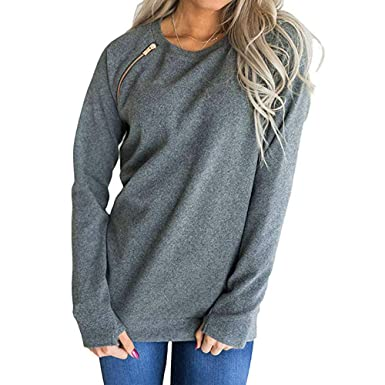 GOVOW Autumn Women Zipper Soft Sweatshirt Fashion Solid O-Neck Long Sleeve T-Shirt Blouse Pullover at Amazon Womens Clothing store: