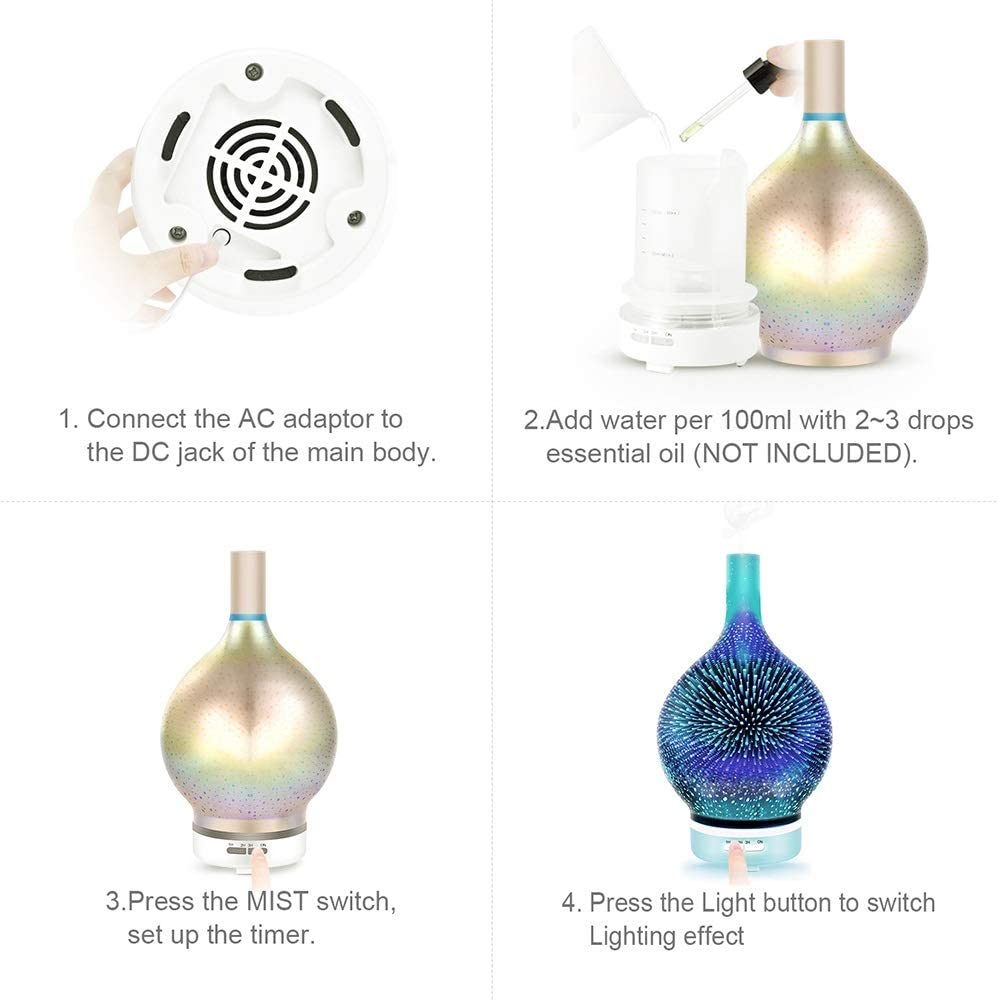 GMYFC Festival Gift Ultrasonic 3D Effect Star Fire Night Light Glass Aroma Diffuser Lamp 7 Colors Change Humidifier with Cool Mist LED Color Changing with Glass Cover