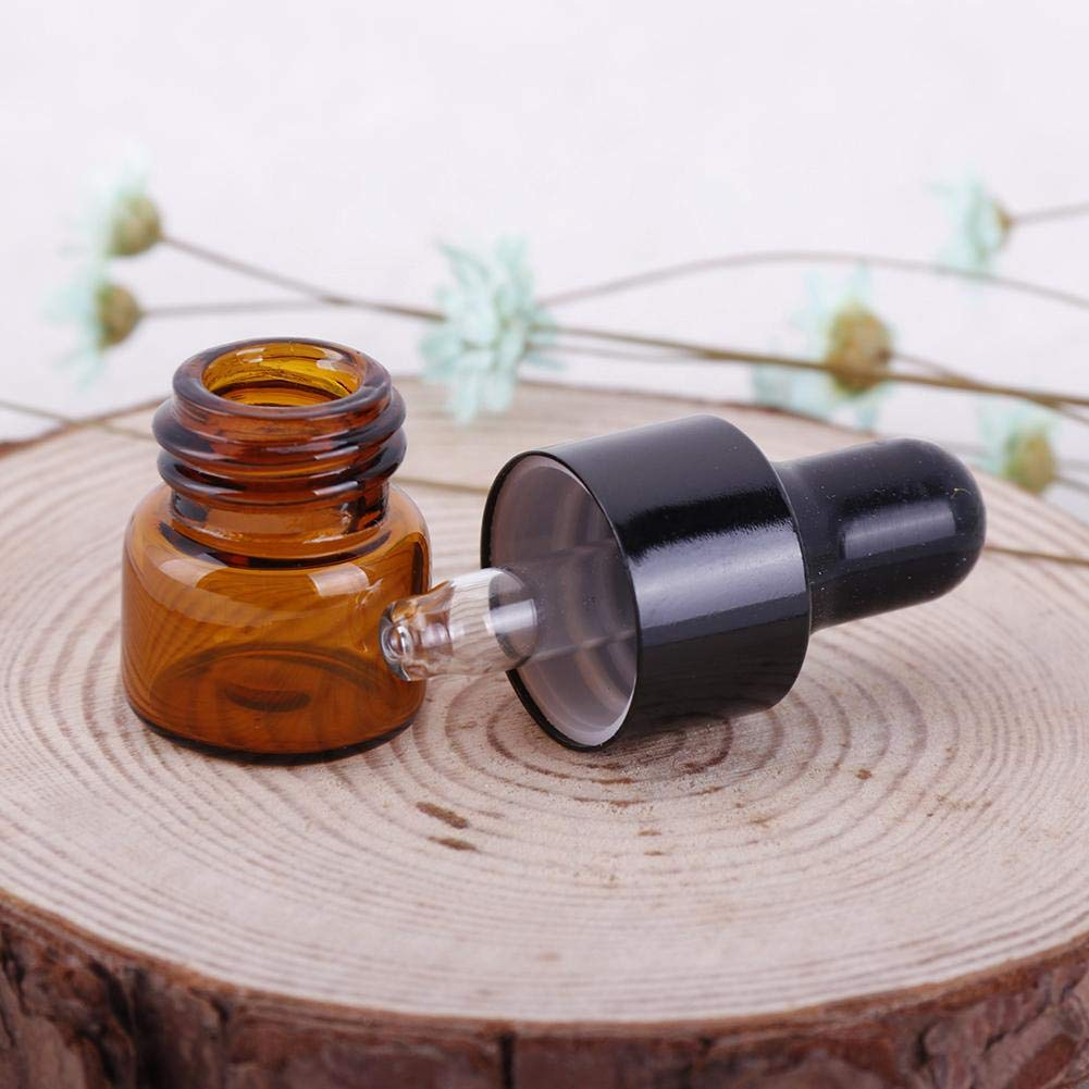 Niome Amber Small Glass Dropper Bottles Vials Essential Oil Sampling 2pcs