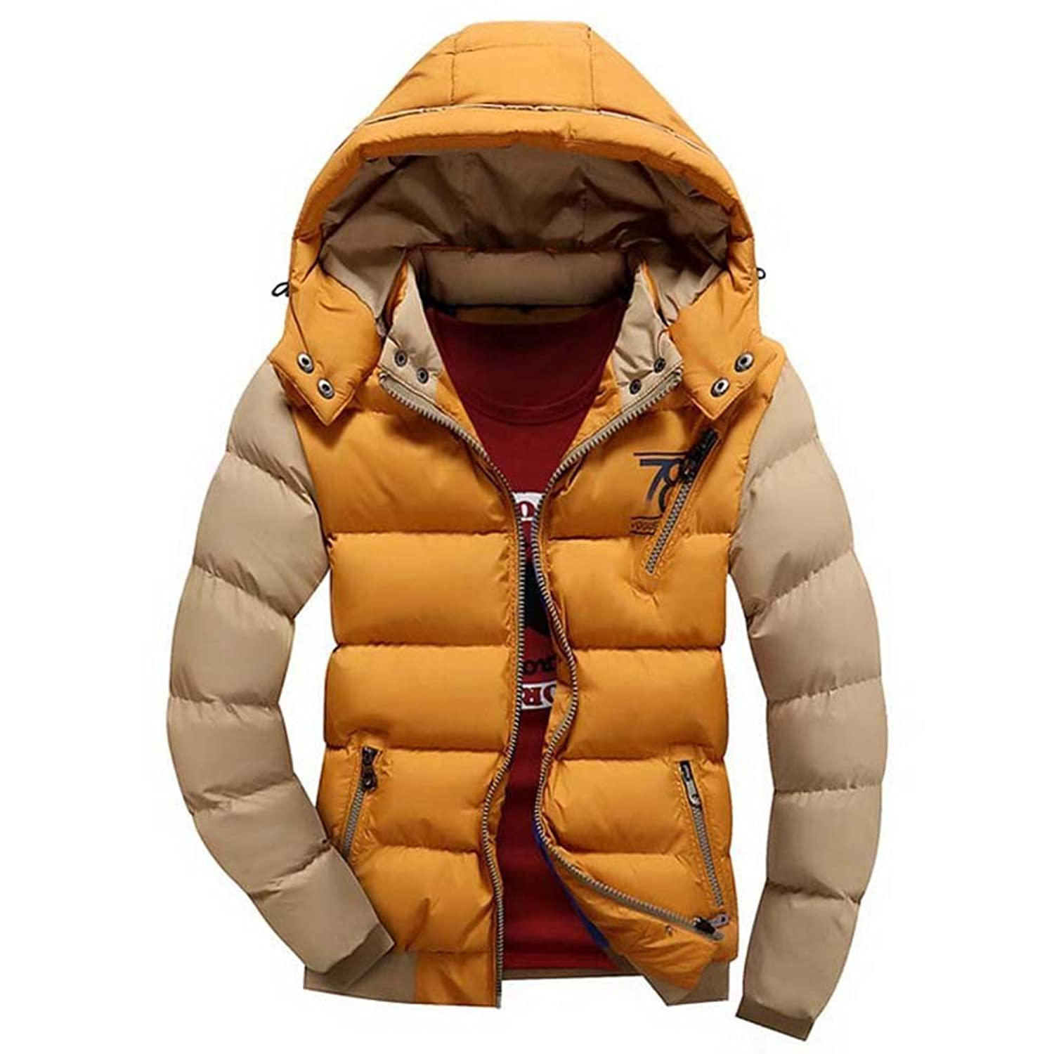 hibote Men Parkas Slim S Thick Clothes Hooded Outwear Jacket Warm Coat Dark Yellow 3XL